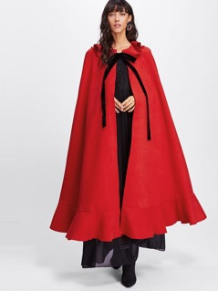 Bow Tied Neck Flounce Cloak Coat