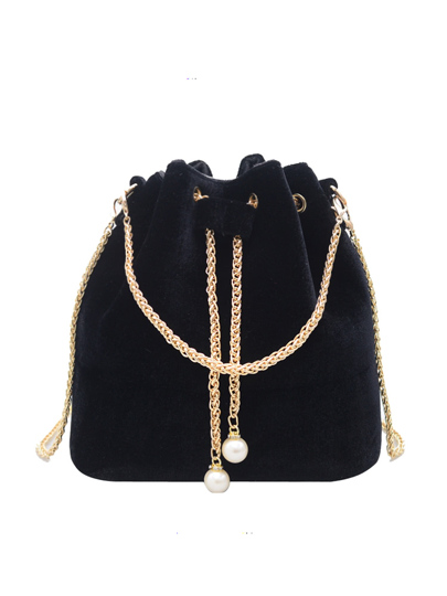 Drawstring Bucket Chain Bag