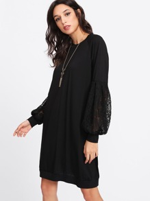 Lace Panel Sweatshirt Dress