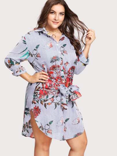 Tie Waist Striped And Floral Shirt Dress
