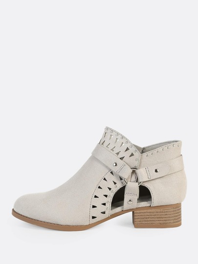 Cut Out and Studded Booties LIGHT SMOKE