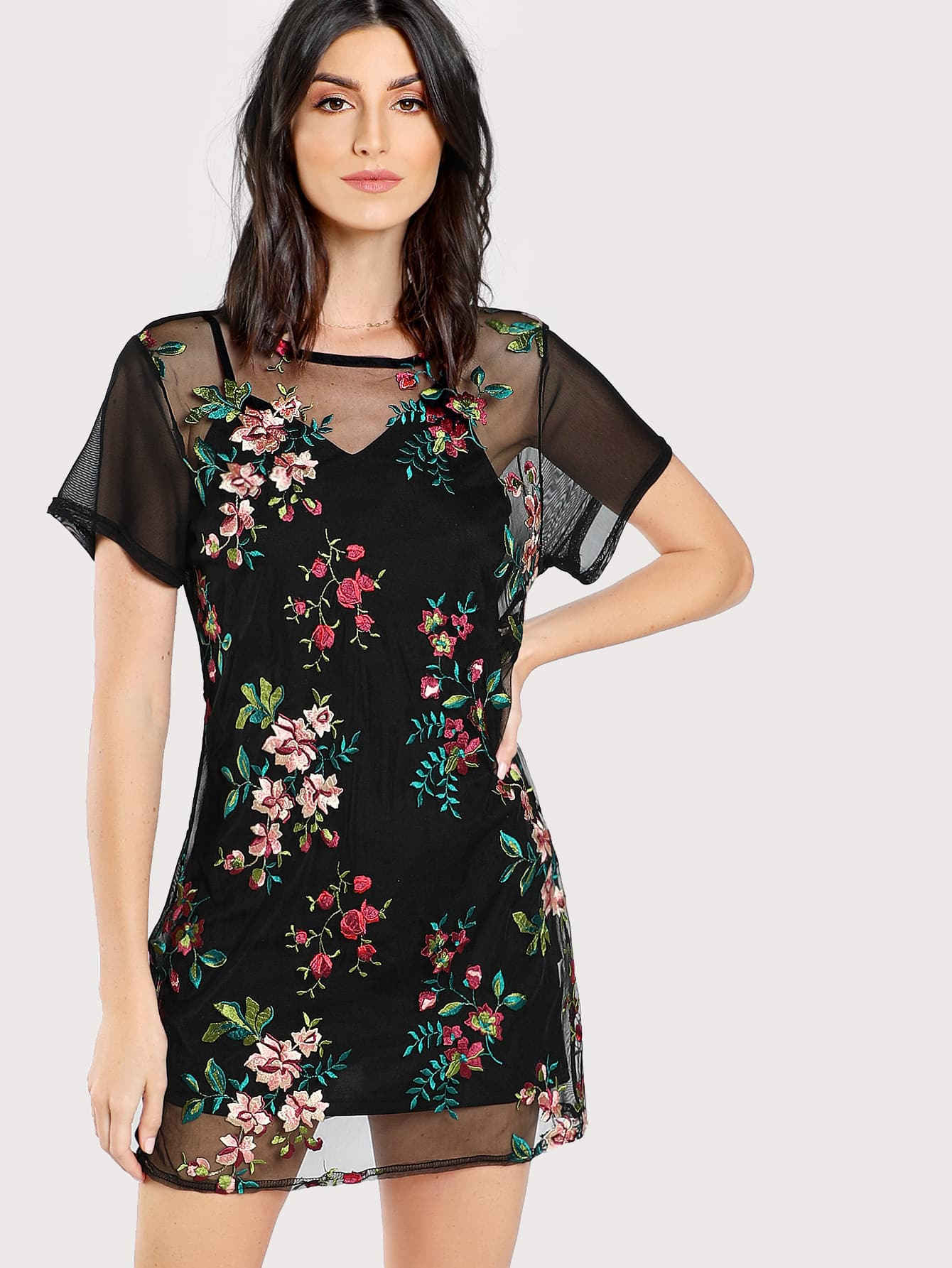 Flower Embroidery Sheer Mesh Dress without Cami болеро quelle ashley brooke by heine 123582