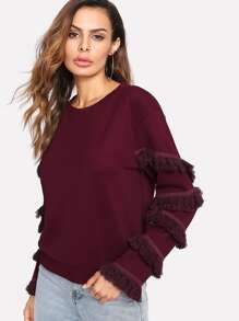 Layered Fringe Trim Textured Pullover