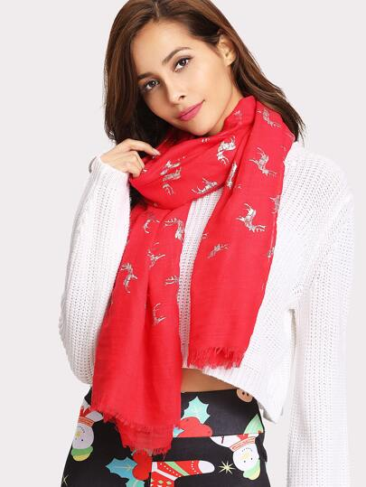 Christmas Frayed Trim Animal Print Scarf