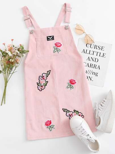 Floral Embroidered Patch Pinafore Dress