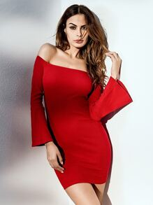 Bardot Flounce Sleeve Bodycon Dress