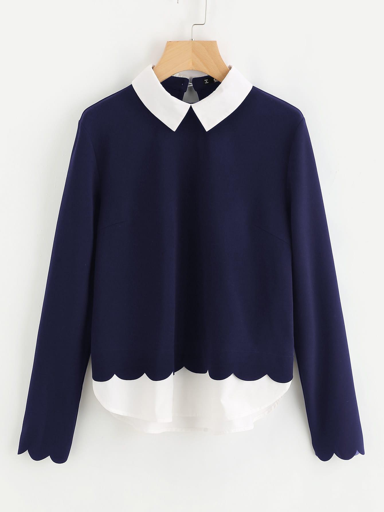 Купить Контрастная модная блуза с фестонами, null, SheIn