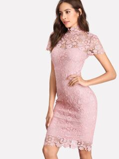 Open Back Guipure Lace Overlay Dress