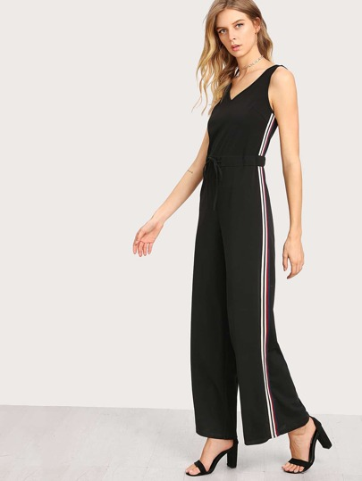 Striped Side Drawstring Waist Palazzo Jumpsuit