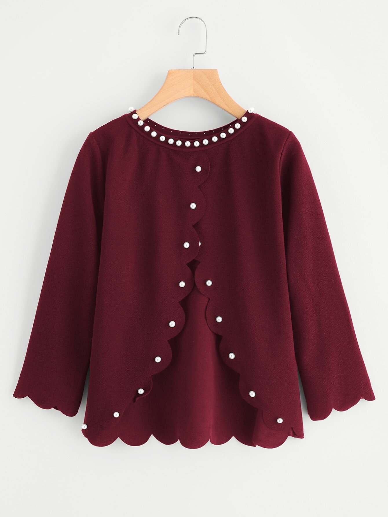 Pearl Beading Overlap Back Scalloped Top pearl beading frill hem textured top