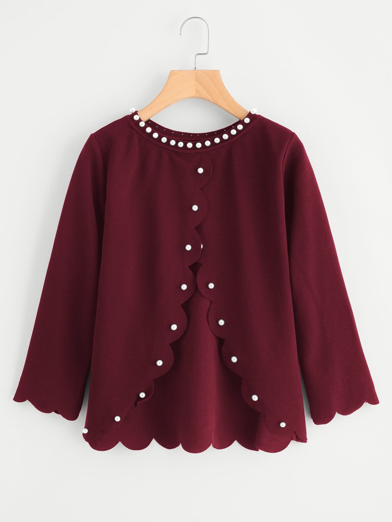Pearl Beading Overlap Back Scalloped Top pearl beading scalloped textured top