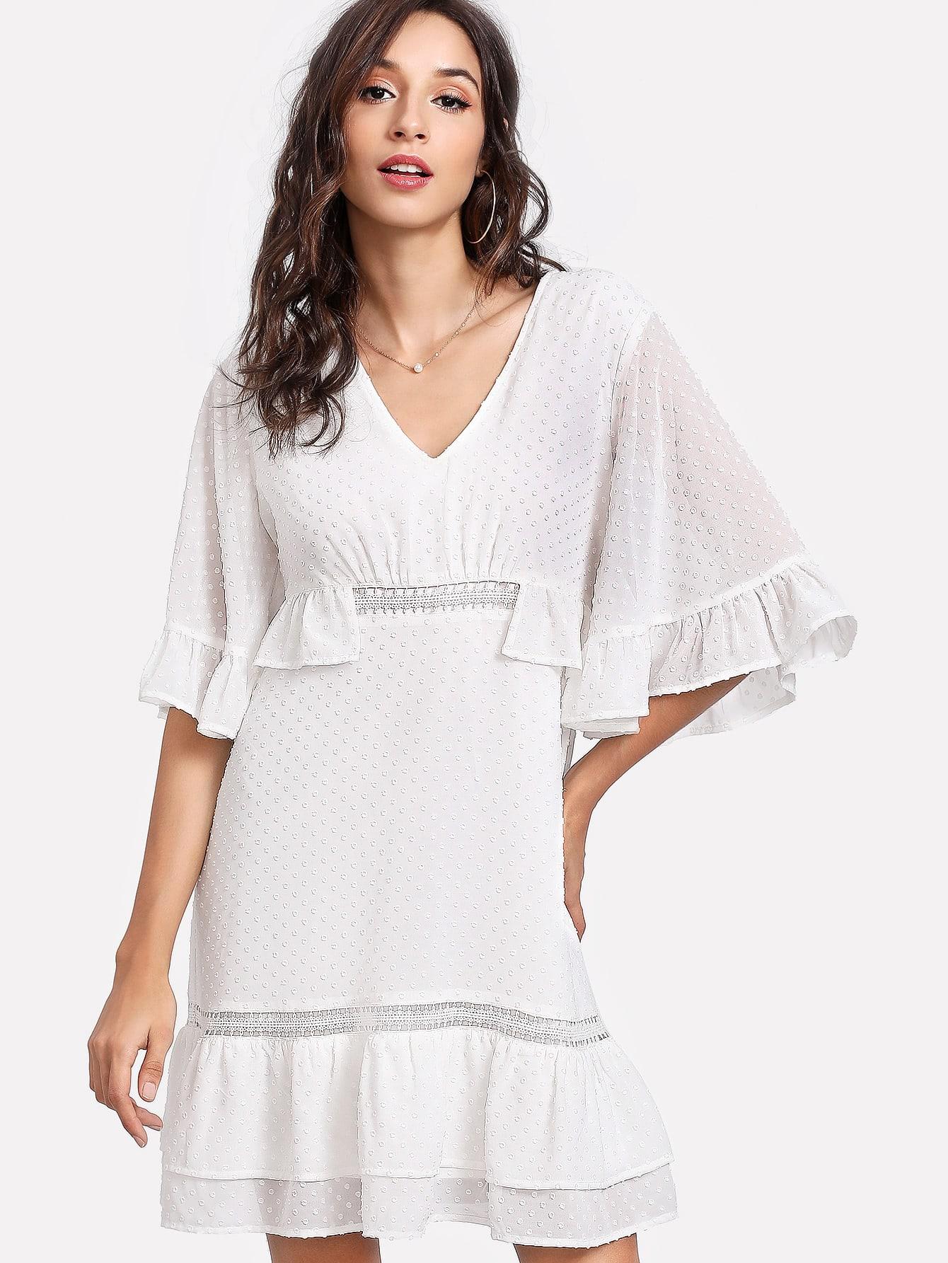 Tiered Ruffle Hem Dot Jacquard Dress tiered layer ruffle jacket