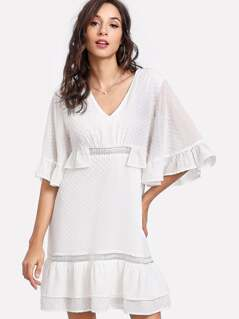 Tiered Ruffle Hem Dot Jacquard Dress