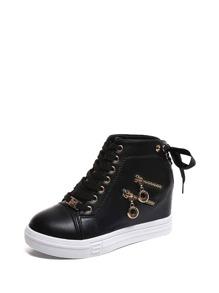 Double Zip Detail High Top Sneakers