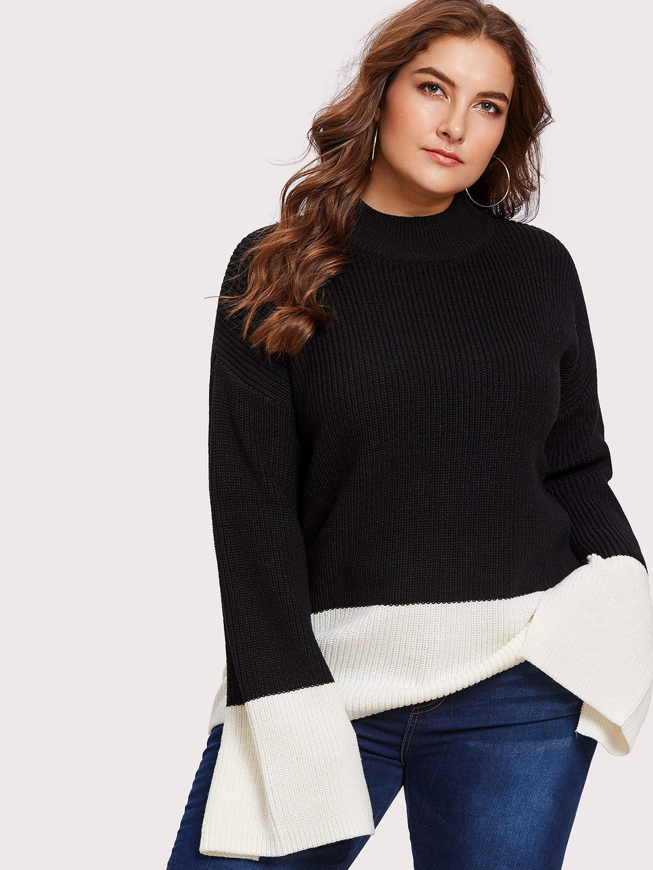 Plus Two Tone Slit Sleeve Jumper