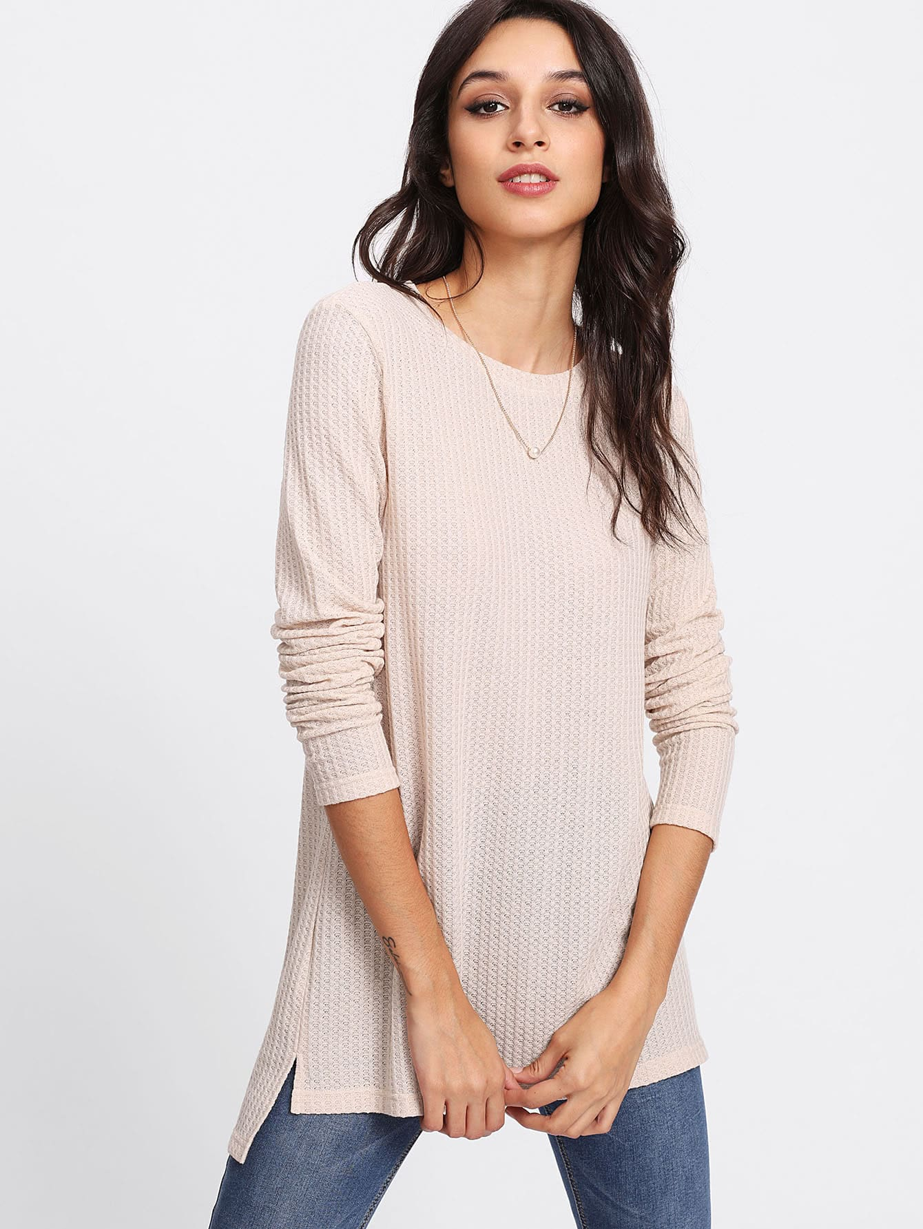 Stepped Hem Textured Knit T-shirt цена