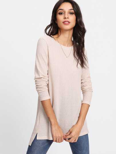 Stepped Hem Textured Knit T-shirt