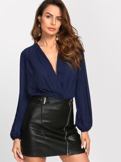 Bishop Sleeve Pleated Wrap Front Blouse Bodysuit a63a65407