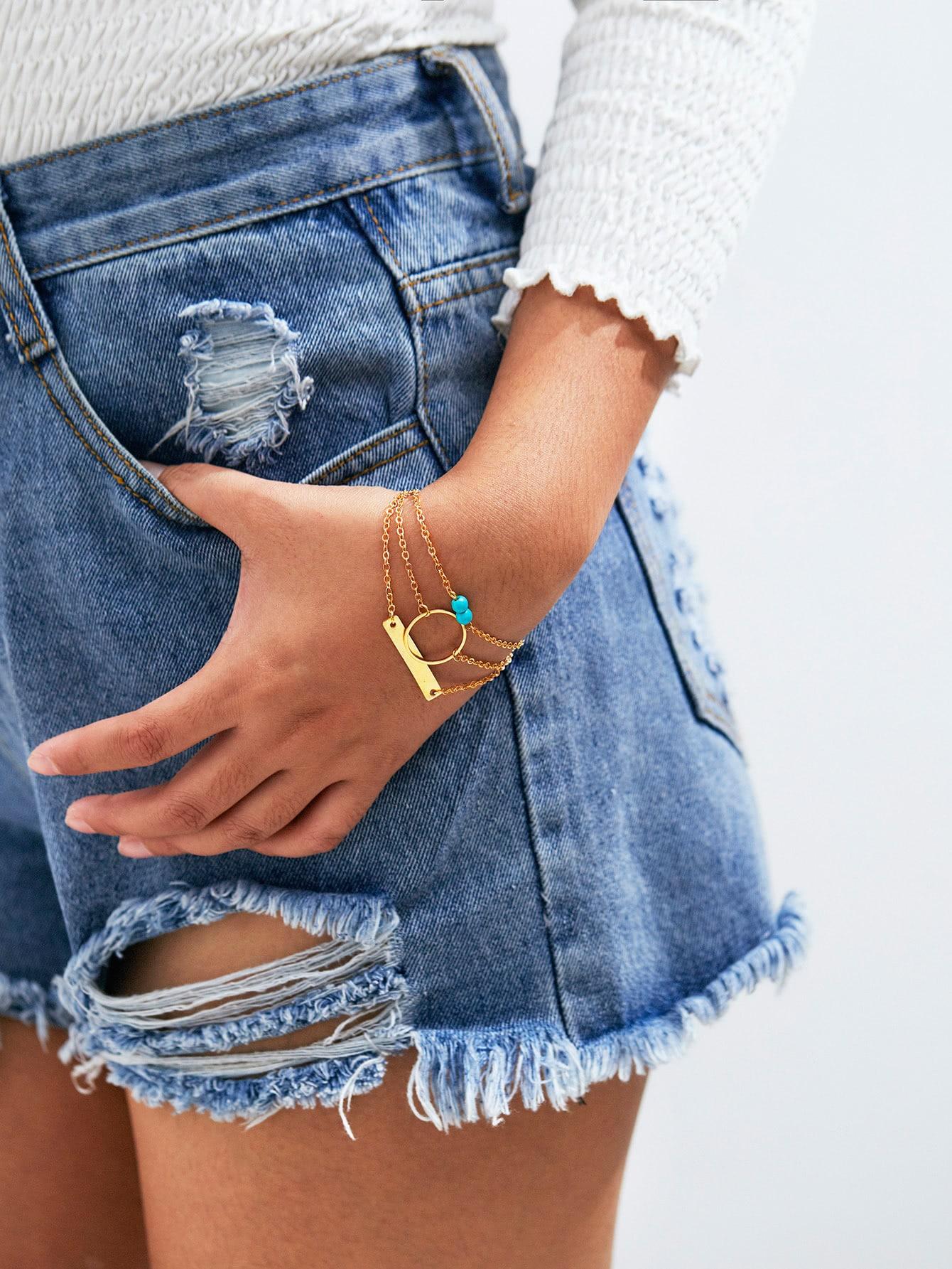 Ring & Bar Design Layered Link Bracelet