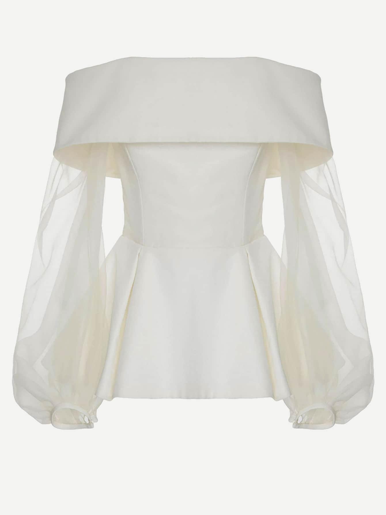 Fold Over Bardot Mesh Balloon Sleeve Pep Hem Top mesh insert jacquard pep hem top