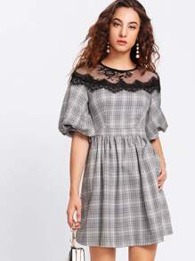 Bishop Sleeve Eyelash Lace Yoke Plaid Dress