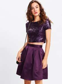 Sequin Crop Top & Boxed Pleated Skirt Set