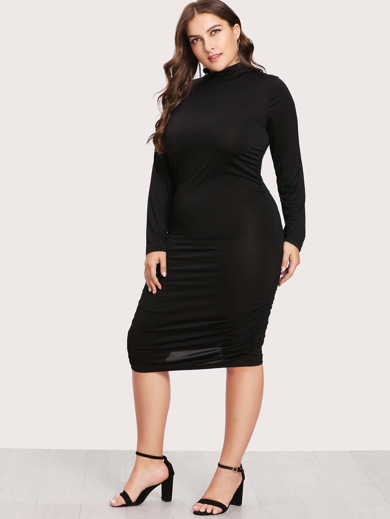 High Neck Ruched Back Dress dress171117351