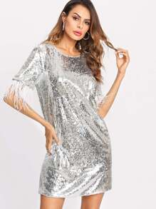 Feather Trim Sequin Dress