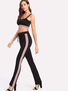 Striped Sports Bra And Sweatpants Set