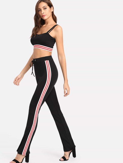 Striped Sports Bra And Sweatpants Set