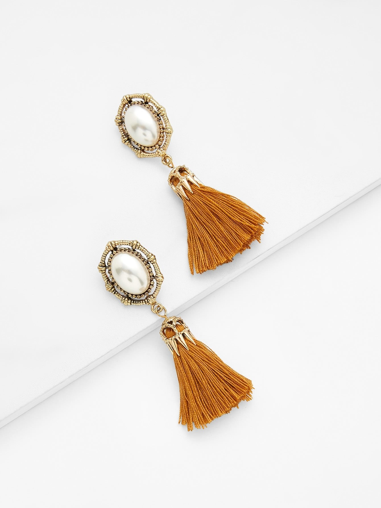 Faux Pearl Top Tassel Drop Earrings faux pearl rhinestoned oval drop earrings