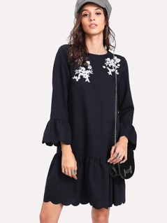 Flower Embroidered Scalloped Frill Trim Dress
