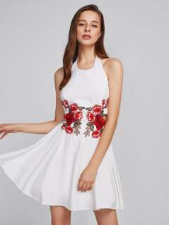 Embroidery Applique Knot Back Fitted & Flared Dress