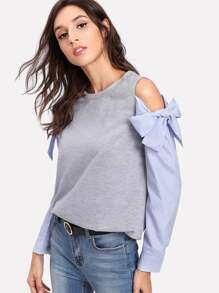 Contrast Striped Sleeve Marled Pullover