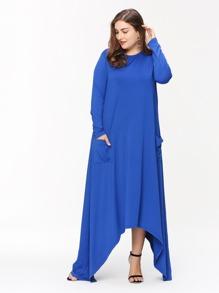 Asymmetric Hem Double Pockets Dress