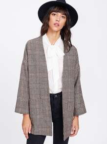Drop Shoulder Pocket Front Plaid Kimono