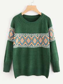 Geo Pullover Knit Sweater
