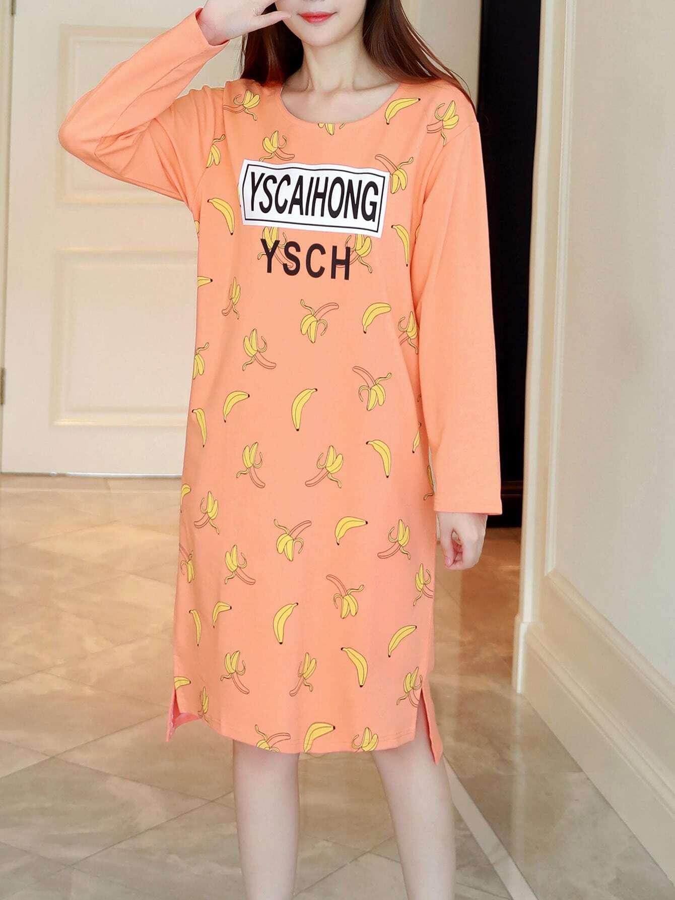 Banana Print Slit Side High Low Night Dress