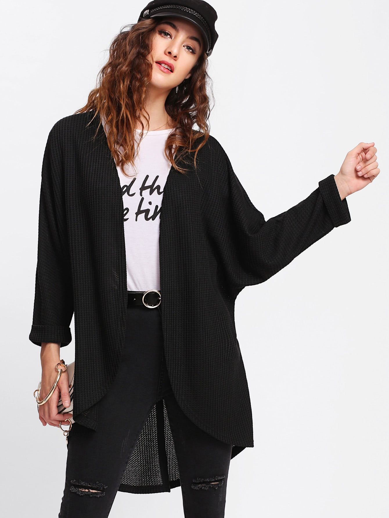 Curved Dip Hem Dolman Coat lisa corti короткое платье