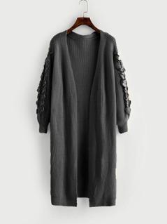 Lace Up Sleeve Slit Side Longline Cardigan