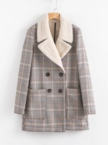 Double Breasted Sherpa Lined Plaid Coat