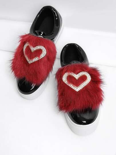 Rhinestone Heart Design PU Sneakers With Faux Fur