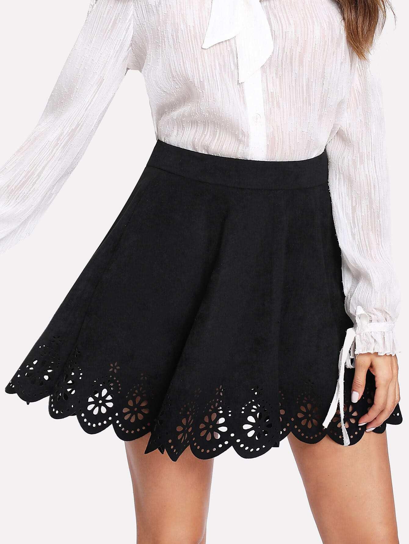 Scallop Laser Cut Suede Skirt scallop laser cut form fitting dress