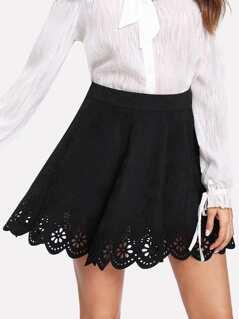 Scallop Laser Cut Suede Skirt