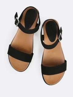 Single Band Ankle Strap Sandals BLACK
