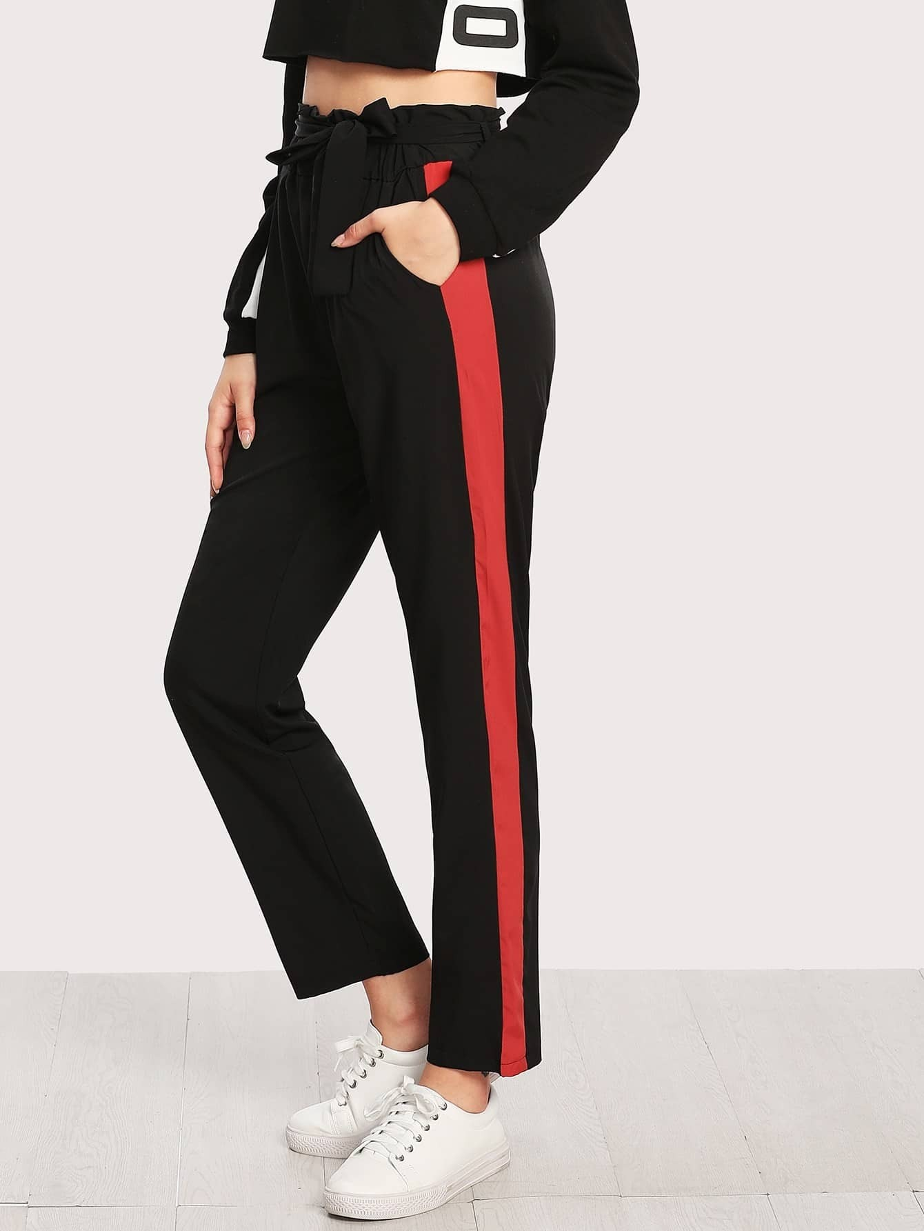 Image of Contrast Panel Side Frill Waist Pants