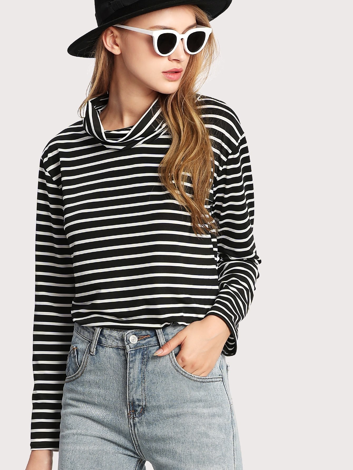Cowl Neck Striped Tee cowl neck striped trim tee
