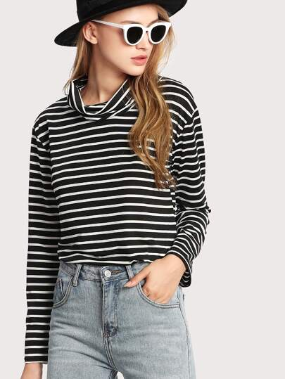Cowl Neck Striped Tee
