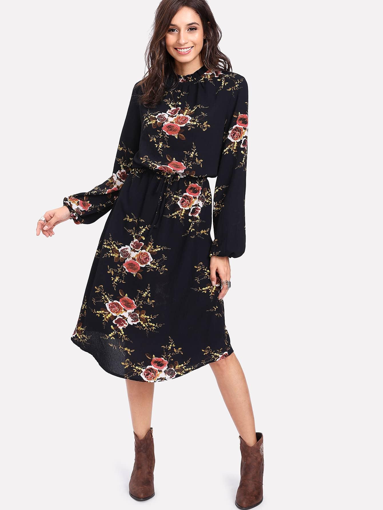 Flower Print Gathered Neck Drawstring Waist Dress