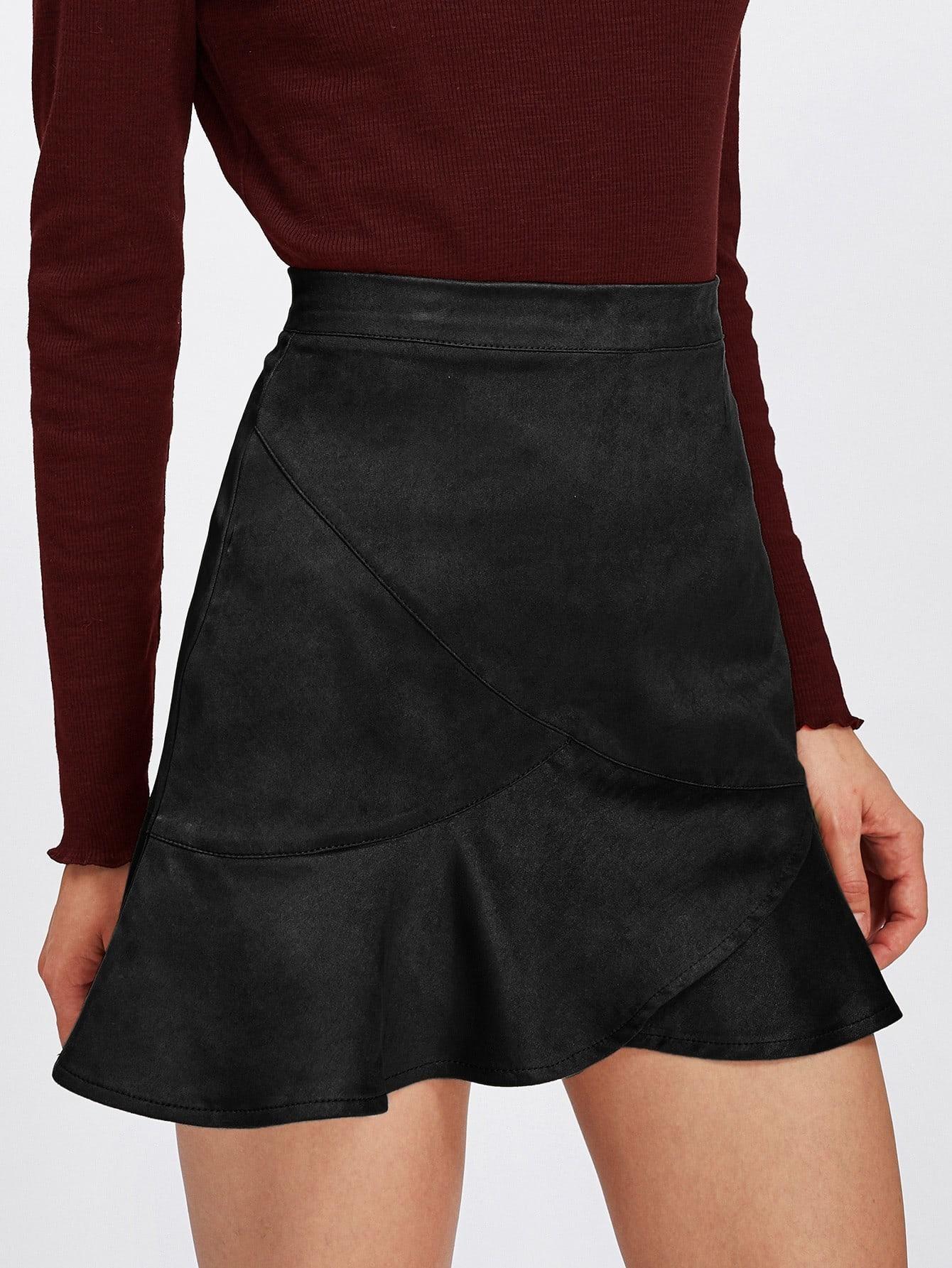 Ruffle Hem Zip Back Suede Skirt